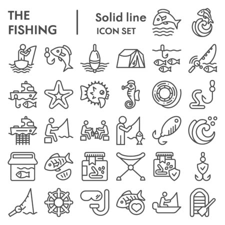 Fishing line icon set, fisherman equipment symbols collection, vector sketches, logo illustrations, fishing hobby signs linear pictograms package isolated on white background, eps 10. Ilustracja