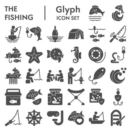Fishing glyph icon set, fisherman equipment symbols collection, vector sketches, logo illustrations, fishing hobby signs solid pictograms package isolated on white background, eps 10.