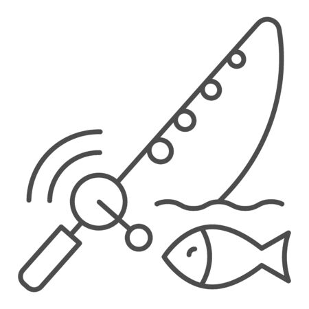 Spinning fish thin line icon. Fish with bait vector illustration isolated on white. Fish and fishing pole outline style design, designed for web and app. Eps 10.