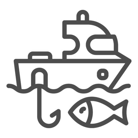 Fishing boat line icon. Sailboat and fish vector illustration isolated on white. Fishing yacht outline style design, designed for web and app. Eps 10.