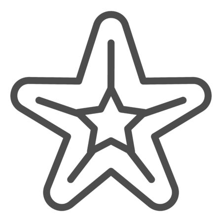 Starfish line icon. Sea star vector illustration isolated on white. Aquatic outline style design, designed for web and app. Eps 10.  イラスト・ベクター素材
