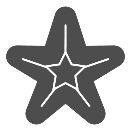 Starfish solid icon. Sea star vector illustration isolated on white. Aquatic glyph style design, designed for web and app. Eps 10.  イラスト・ベクター素材