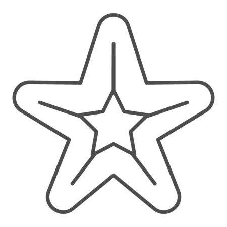 Starfish thin line icon. Sea star vector illustration isolated on white. Aquatic outline style design, designed for web and app. Eps 10.  イラスト・ベクター素材
