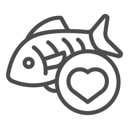 Love fishing line icon. Fish and heart vector illustration isolated on white. Love seafood outline style design, designed for web and app. Eps 10. Ilustracja