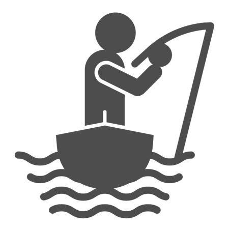 Fisherman on the boat solid icon. Fisherman with fishing rod vector illustration isolated on white. Man fishing glyph style design, designed for web and app. Eps 10.