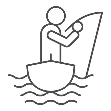 Fisherman on the boat thin line icon. Fisherman with fishing rod vector illustration isolated on white. Man fishing outline style design, designed for web and app. Eps 10.  イラスト・ベクター素材