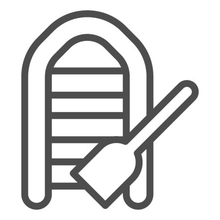 Inflatable boat with oar line icon. Boat with paddle vector illustration isolated on white. Fisher vessel outline style design, designed for web and app. Eps 10.  イラスト・ベクター素材