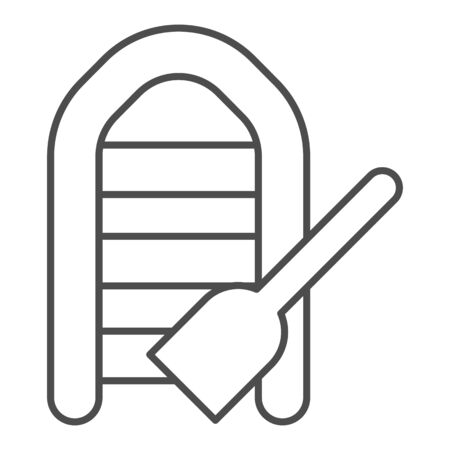 Inflatable boat with oar thin line icon. Boat with paddle vector illustration isolated on white. Fisher vessel outline style design, designed for web and app. Eps 10.