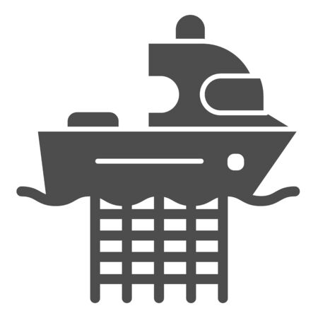 Fishing boat with nets solid icon. Commercial fishing vessel vector illustration isolated on white. Fish catch glyph style design, designed for web and app. Eps 10.