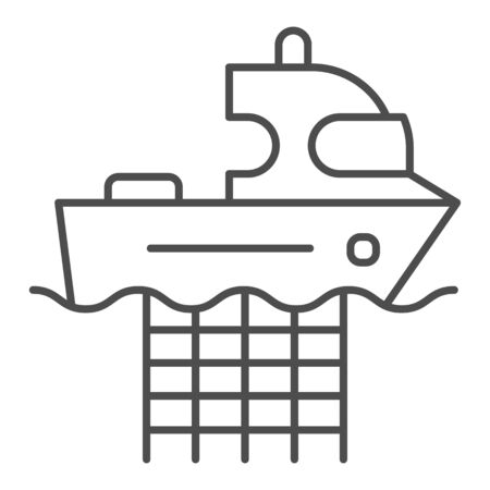 Fishing boat with nets thin line icon. Commercial fishing vessel vector illustration isolated on white. Fish catch outline style design, designed for web and app. Eps 10.