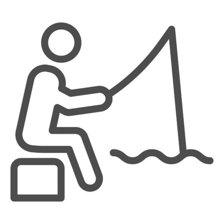 Fisheman line icon. Fishing man on the river vector illustration isolated on white. Person with fishing rod outline style design, designed for web and app. Eps 10.  イラスト・ベクター素材
