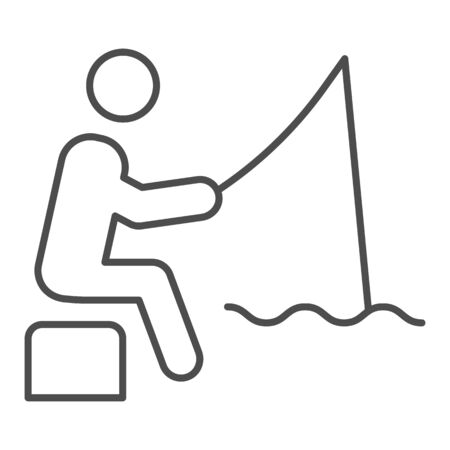 Fisheman thin line icon. Fishing man on the river vector illustration isolated on white. Person with fishing rod outline style design, designed for web and app. Eps 10.