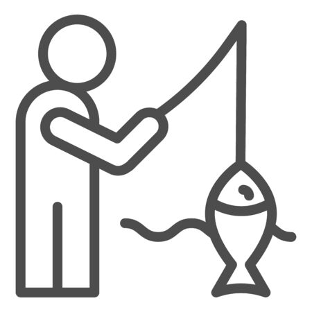 Fisheman and catch line icon. Fishing on the river vector illustration isolated on white. Man with fish outline style design, designed for web and app. Eps 10.  イラスト・ベクター素材