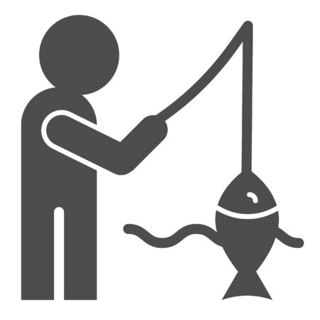 Fisheman and catch solid icon. Fishing on the river vector illustration isolated on white. Man with fish glyph style design, designed for web and app. Eps 10.