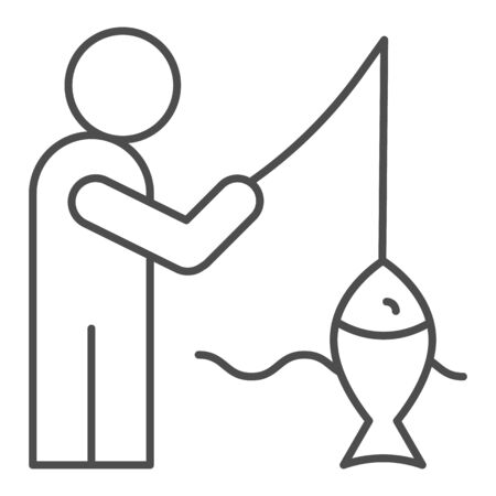Fisheman and catch thin line icon. Fishing on the river vector illustration isolated on white. Man with fish outline style design, designed for web and app. Eps 10.