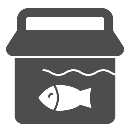 Bucket with fish solid icon. Fishing bucket vector illustration isolated on white. Fisherman catch glyph style design, designed for web and app. Eps 10.