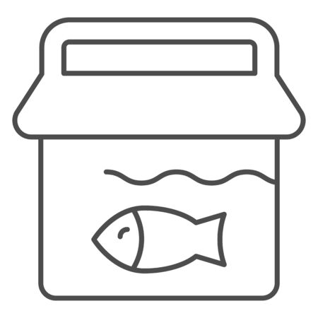 Bucket with fish thin line icon. Fishing bucket vector illustration isolated on white. Fisherman catch outline style design, designed for web and app. Eps 10.
