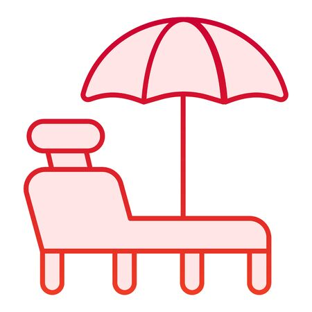 Beach lounge flat icon. A deckchair red icons in trendy flat style. Beach chair with umbrella gradient style design, designed for web and app. Eps 10.