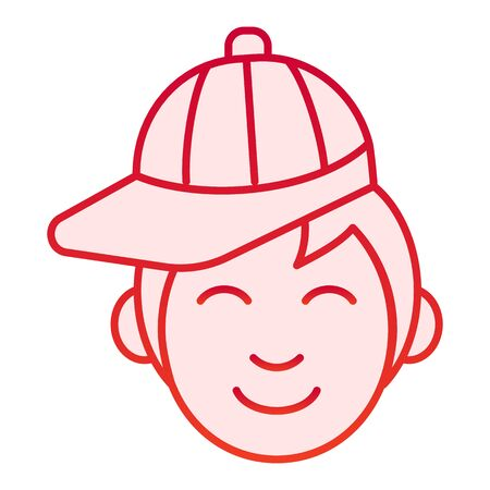 Boy with cap flat icon. Young man wearing baseball cap red icons in trendy flat style. Male in hat gradient style design, designed for web and app. Eps 10.