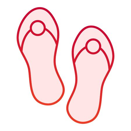 Flip flops flat icon. Beach footwear red icons in trendy flat style. Summer sandals degree gradient style design, designed for web and app. Eps 10.