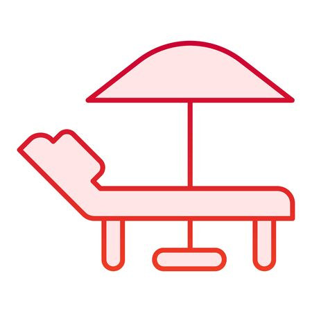 Sedia a sdraio con icona piatta ombrellone. Icone rosse di sedia e ombrellone in stile piatto alla moda. Design in stile sfumato lounge e ombrellone, progettato per web e app. Eps 10.
