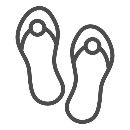 Flip flops line icon. Beach footwear vector illustration isolated on white. Summer sandals outline style design, designed for web and app. Eps 10.