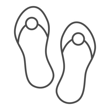 Flip flops thin line icon. Beach footwear vector illustration isolated on white. Summer sandals outline style design, designed for web and app. Eps 10.