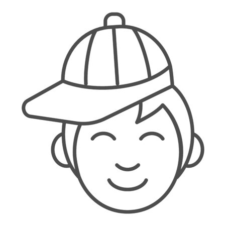 Boy with cap thin line icon. Young man wearing baseball cap vector illustration isolated on white. Male in hat outline style design, designed for web and app. Eps 10.