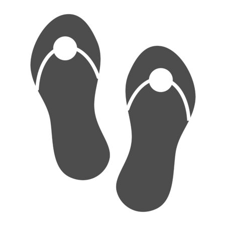 Flip flops solid icon. Beach footwear vector illustration isolated on white. Summer sandals glyph style design, designed for web and app. Eps 10. Ilustracja