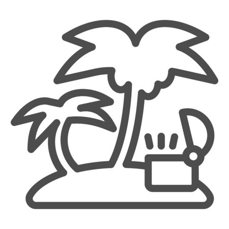 Open treasure chest on island line icon. Tropical island with palm vector illustration isolated on white. Island with ancient chest outline style design, designed for web and app. Eps 10.