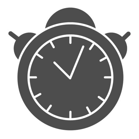 Alarm clock solid icon. Table watch vector illustration isolated on white. Morning timer glyph style design, designed for web and app. Eps 10.