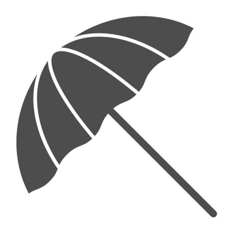Beach umbrella solid icon. Summer parasol vector illustration isolated on white. Recreation glyph style design, designed for web and app. Eps 10.  イラスト・ベクター素材