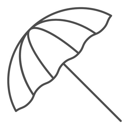 Beach umbrella thin line icon. Summer parasol vector illustration isolated on white. Recreation outline style design, designed for web and app. Eps 10.