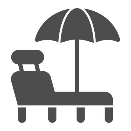 Beach chair with umbrella solid icon. A deckchair vector illustration isolated on white. Beach lounge glyph style design, designed for web and app. Eps 10.