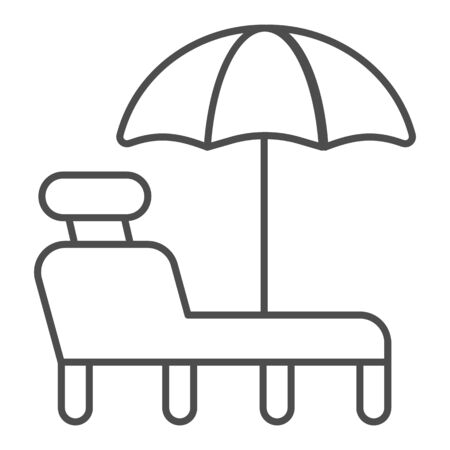 Beach chair with umbrella thin line icon. A deckchair vector illustration isolated on white. Beach lounge outline style design, designed for web and app. Eps 10.