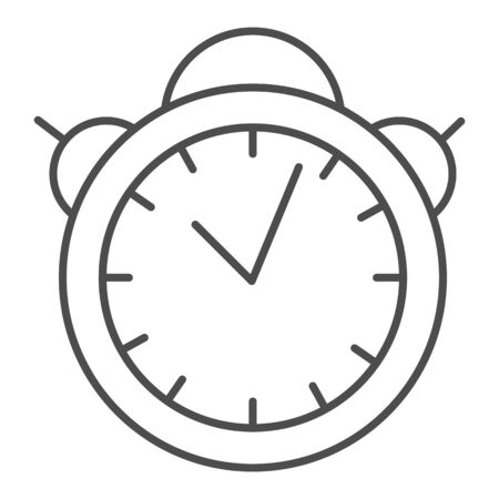 Alarm clock thin line icon. Table watch vector illustration isolated on white. Morning timer outline style design, designed for web and app. Eps 10.
