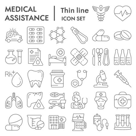 Medical assistance thin line icon set, healthcare symbols collection, vector sketches, logo illustrations, medicine equipment signs linear pictograms package isolated on white background, eps 10.