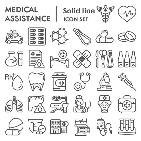 Medical assistance line icon set, healthcare symbols collection, vector sketches, logo illustrations, medicine equipment signs linear pictograms package isolated on white background, eps 10. Иллюстрация