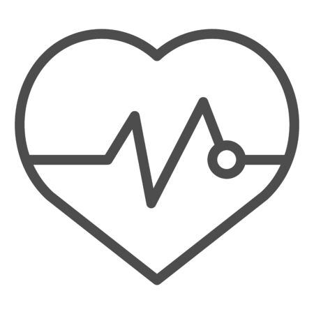 Heartbeat line icon. Pulse vector illustration isolated on white. Cardiogram outline style design, designed for web and app. Eps 10.