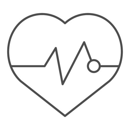 Heartbeat thin line icon. Pulse vector illustration isolated on white. Cardiogram outline style design, designed for web and app. Eps 10.