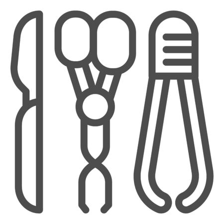 Medical scalpel, scissors and tweezers line icon. Surgical instruments vector illustration isolated on white. Doctors equipment outline style design, designed for web and app. Eps 10.