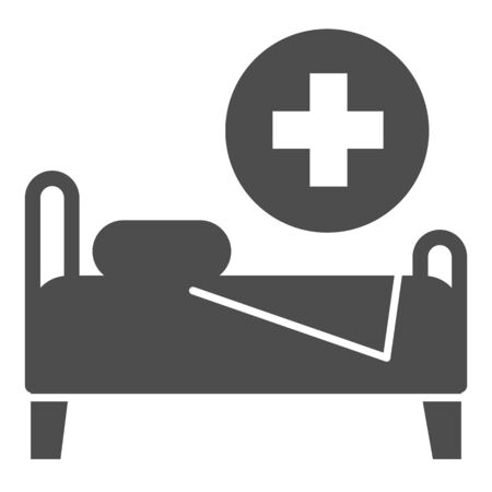 Hospital bed solid icon. Hospital ward vector illustration isolated on white. Rehabilitation glyph style design, designed for web and app. Eps 10.