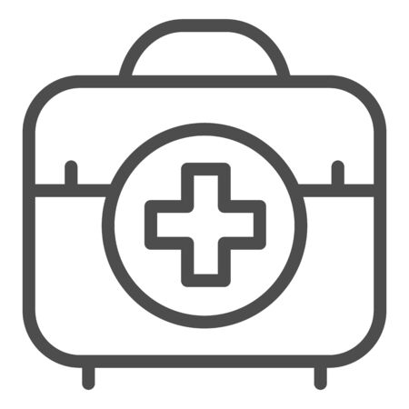 First aid kit line icon. Medical bag vector illustration isolated on white. Doctor suitcase outline style design, designed for web and app. Eps 10. Çizim