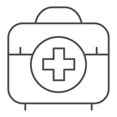 First aid kit thin line icon. Medical bag vector illustration isolated on white. Doctor suitcase outline style design, designed for web and app. Eps 10.