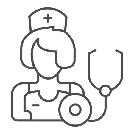 Therapist thin line icon. Medic vector illustration isolated on white. Physician outline style design, designed for web and app. Eps 10. Çizim