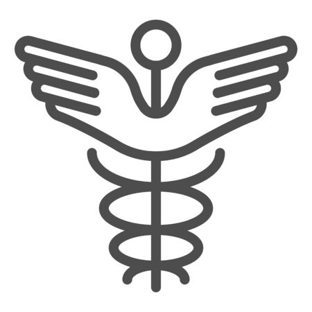 Caduceus line icon. Pharmacy symbol vector illustration isolated on white. Medical sign outline style design, designed for web and app. Eps 10.