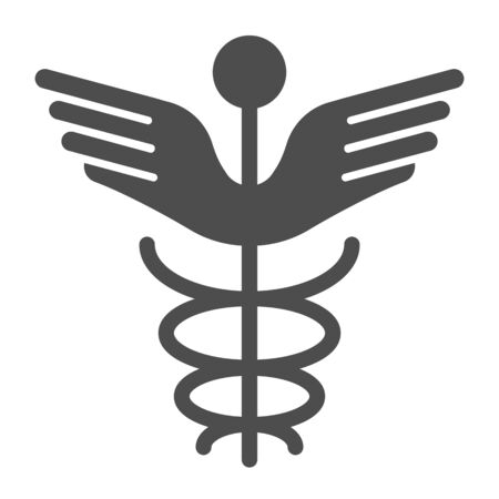 Caduceus solid icon. Pharmacy symbol vector illustration isolated on white. Medical sign glyph style design, designed for web and app. Eps 10.
