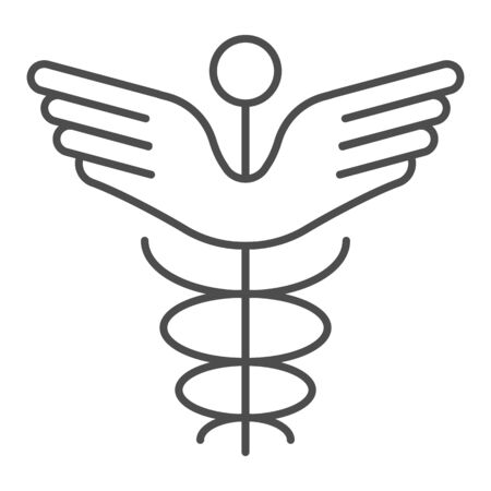 Caduceus thin line icon. Pharmacy symbol vector illustration isolated on white. Medical sign outline style design, designed for web and app. Eps 10.  イラスト・ベクター素材