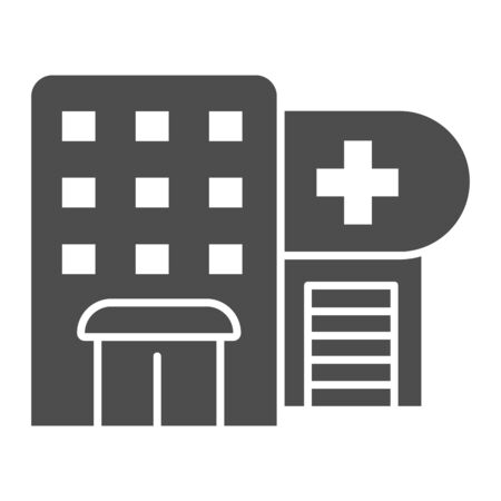 Hospital solid icon. Polyclinic vector illustration isolated on white. Clinic glyph style design, designed for web and app. Eps 10.