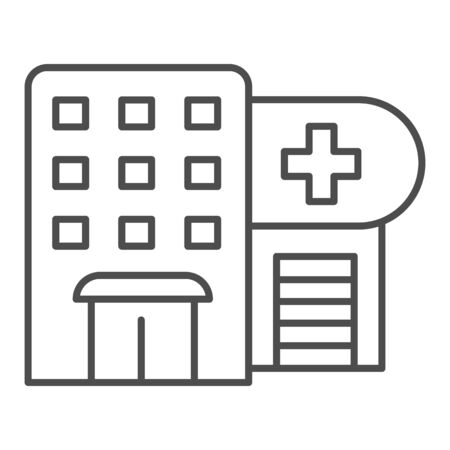 Hospital thin line icon. Polyclinic vector illustration isolated on white. Clinic outline style design, designed for web and app. Eps 10. Иллюстрация